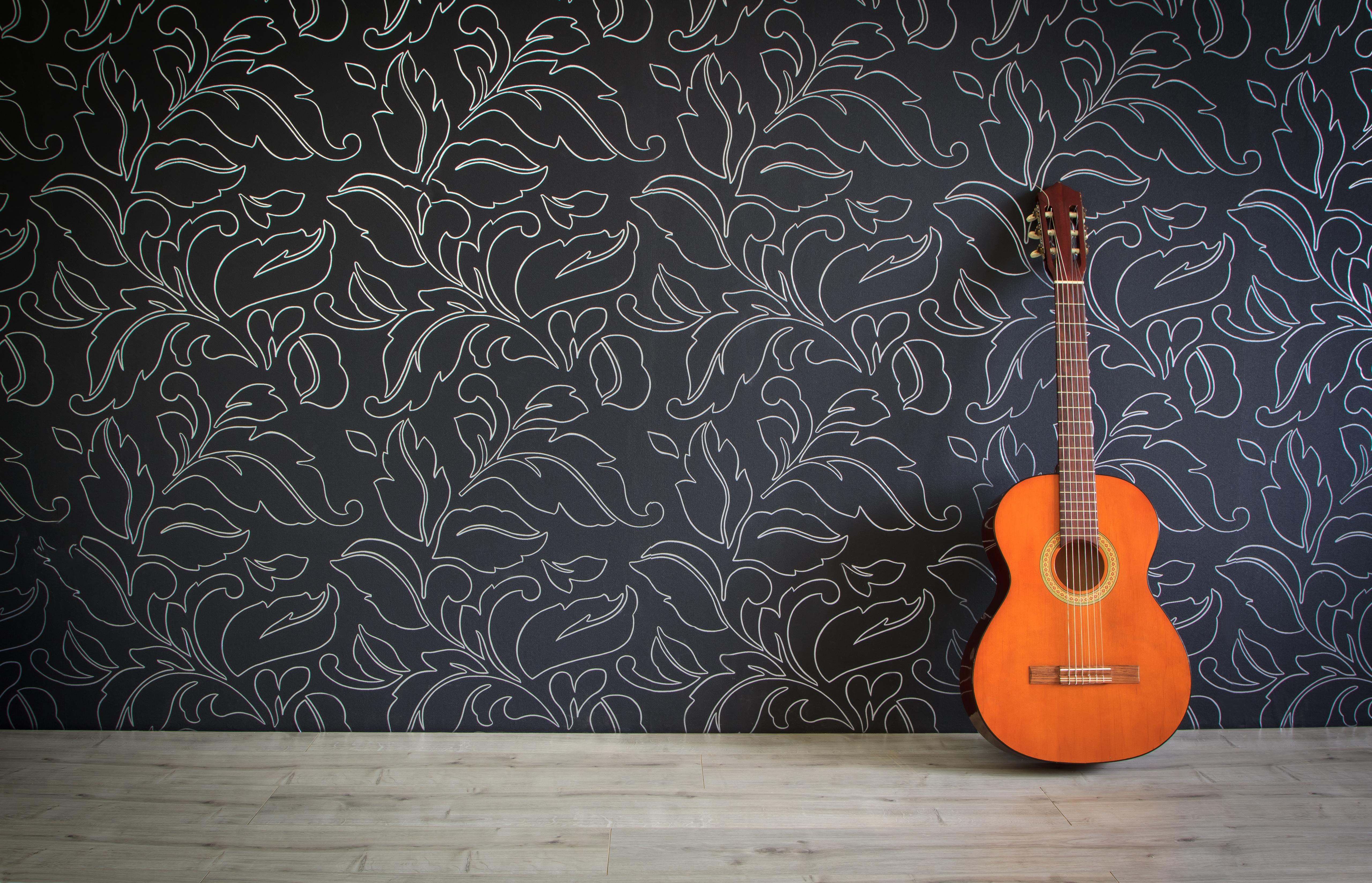 Acoustic Guitar In Empty Room Background Trio De Janeiro